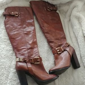 Aldo knee high brown leather boots size 9